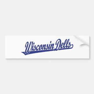Wisconsin Dells script logo in blue Bumper Sticker