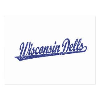Wisconsin Dells script logo in blue distressed Postcard