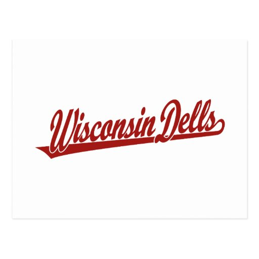 Wisconsin Dells script logo in red Postcard