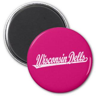 Wisconsin Dells script logo in white distressed 2 Inch Round Magnet