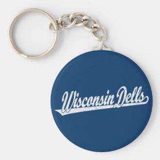 Wisconsin Dells script logo in white distressed Keychain