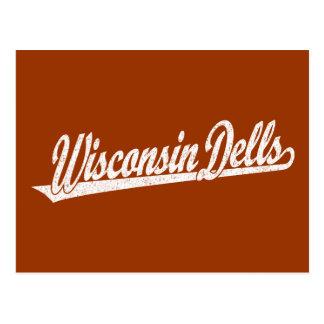 Wisconsin Dells script logo in white distressed Postcard