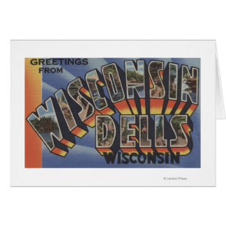 Wisconsin Dells, Wisconsin - Large Letter Scenes Card
