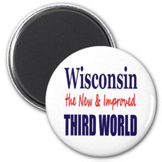 Wisconsin el TERCER MUNDO nuevo y mejorado Imán Redondo 5 Cm