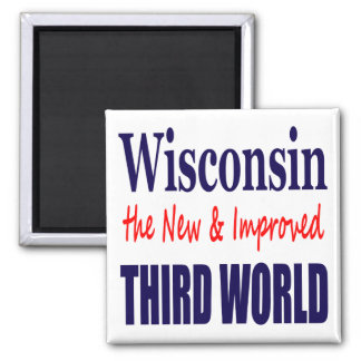Wisconsin el TERCER MUNDO nuevo y mejorado Imán Cuadrado
