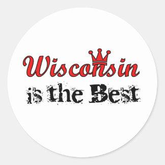 Wisconsin es el mejor pegatina redonda