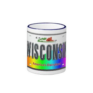 Wisconsin - estado del arco iris taza de dos colores