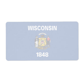 Wisconsin Faint Flag Shipping Label