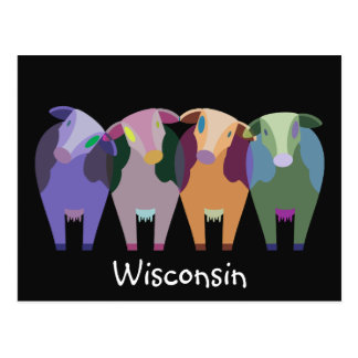 Wisconsin Farm Abstract Cows Postcard