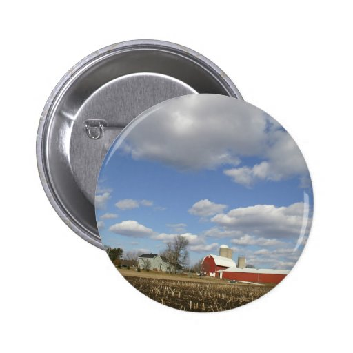 Wisconsin farm on sunny day 2 inch round button