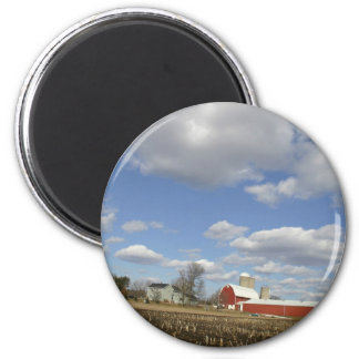 Wisconsin farm on sunny day 2 inch round magnet