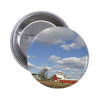Wisconsin farm on sunny day button