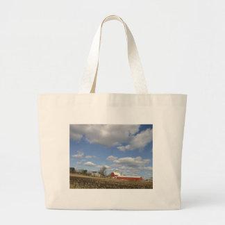 Wisconsin farm on sunny day canvas bag
