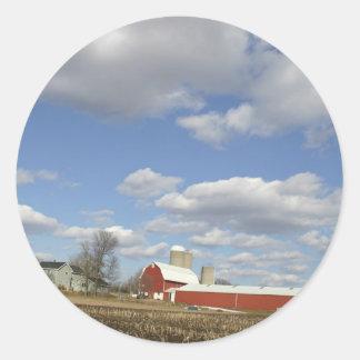 Wisconsin farm on sunny day classic round sticker