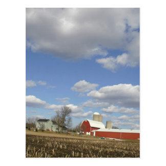 Wisconsin farm on sunny day postcard