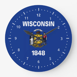 Wisconsin flag, American state flag Large Clock