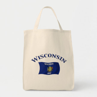 Wisconsin Flag Grocery Tote Bag