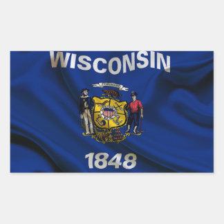 Wisconsin Flag Fabric Rectangular Sticker