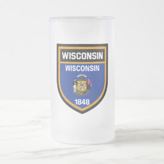 Wisconsin Flag Frosted Glass Beer Mug
