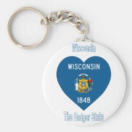 Wisconsin Flag Heart Keychain