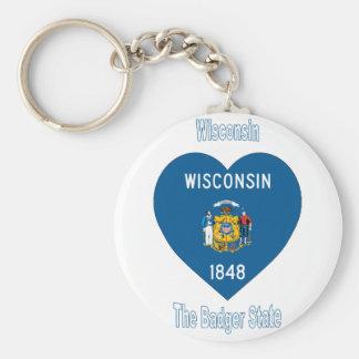 Wisconsin Flag Heart Keychains