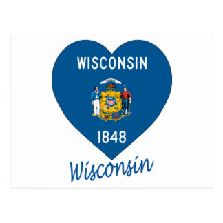 Wisconsin Flag Heart Postcard