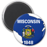 Wisconsin Flag Map 2 Inch Round Magnet