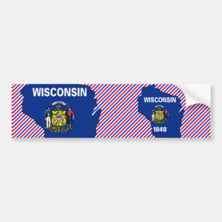 Wisconsin Flag Map Bumper Stickers