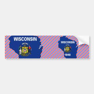 Wisconsin Flag Map Bumper Sticker