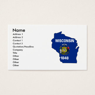 Wisconsin Flag Map Business Card