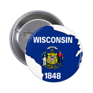 Wisconsin Flag Map Button