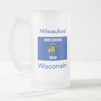 Wisconsin Flag Map City Mug