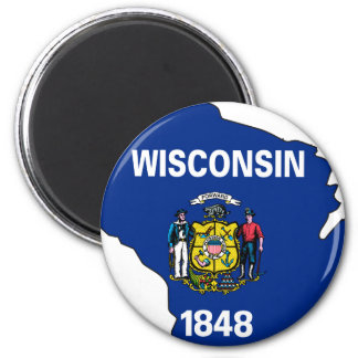 Wisconsin Flag Map Fridge Magnets