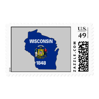 Wisconsin Flag Map Stamps