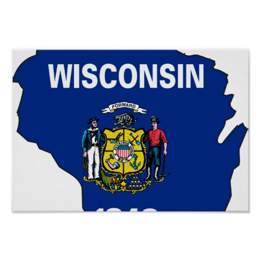 Wisconsin Flag Map Poster