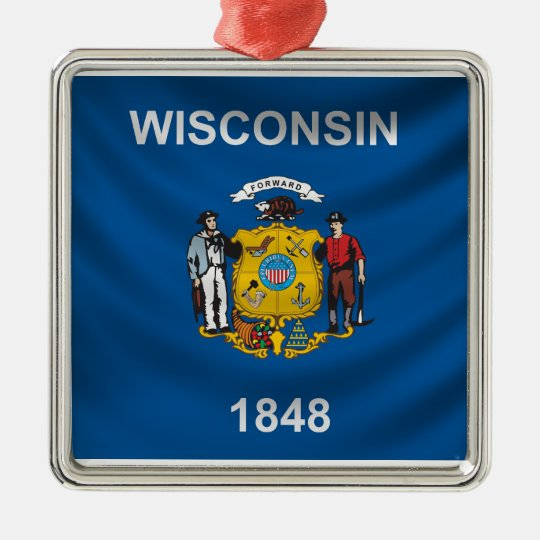 Wisconsin Flag Metal Ornament