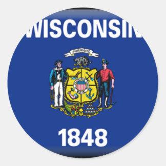 Wisconsin Flag Round Sticker