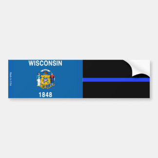 Wisconsin Flag & Thin Blue Line Bumper Sticker