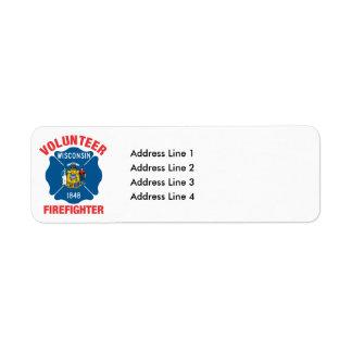Wisconsin Flag Volunteer Firefighter Cross Label