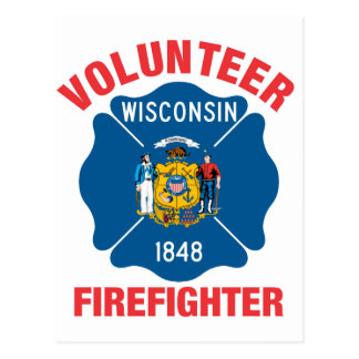 Wisconsin Flag Volunteer Firefighter Cross Postcard