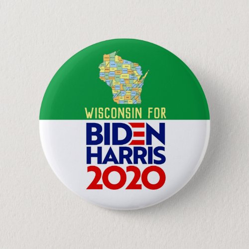 Wisconsin for Biden Harris 2020 Button