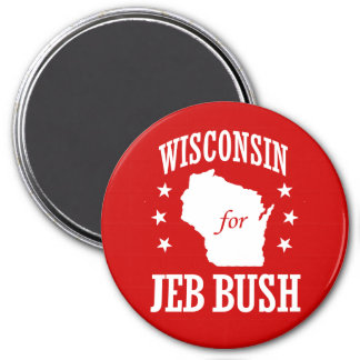 WISCONSIN FOR JEB BUSH 3 INCH ROUND MAGNET