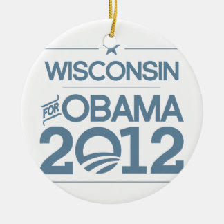 WISCONSIN FOR OBAMA 2012.png Ceramic Ornament