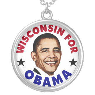 Wisconsin For Obama Silver Plated Necklace