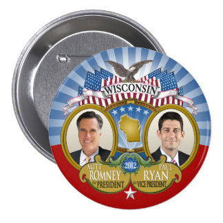 Wisconsin for Romney Ryan - Double Photo Pins