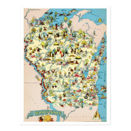 Wisconsin Funny Vintage Map Postcard