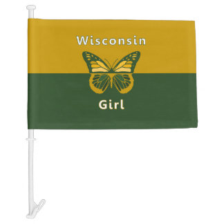 Wisconsin Girl Butterfly Green Bay Car Flag