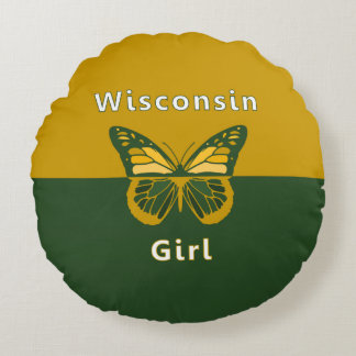 Wisconsin Girl Butterfly Round Pillow