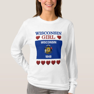 Wisconsin Girl State Flag Hearts T-shirt