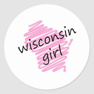 Wisconsin Girl with Scribbled Wisconsin Map Classic Round Sticker